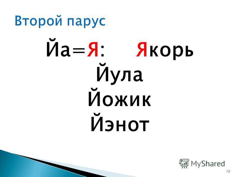 Йа=Я: Якорь Йула Йожик Йэнот 12