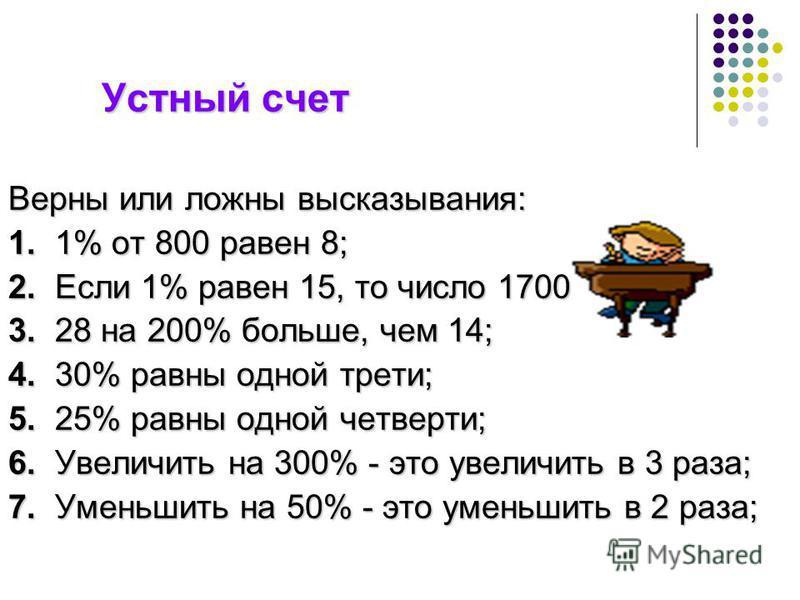 Устный счет Устный счет Верны или ложны высказывания: 1. 1% от 800 равен 8; 2. Если 1% равен 15, то число 1700 3. 28 на 200% больше, чем 14; 4. 30% равны одной трети; 5. 25% равны одной четверти; 6. Увеличить на 300% - это увеличить в 3 раза; 7. Умен