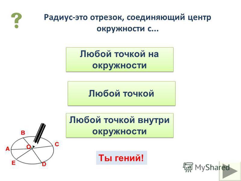 В переводе с греческого название этого отрезка - спица колеса. Что это за отрезок? хорда диаметр радиус Отрезок, соединяющий две точки окружности и не проходящий через центр, называется... хорда диаметр радиус