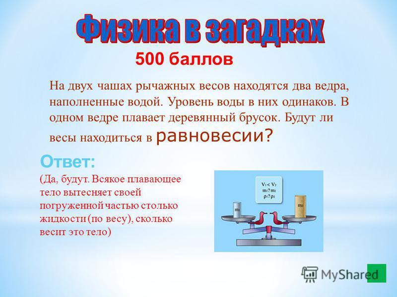 500 баллов На двух чашах рычажных весов находятся два ведра, наполненные водой. Уровень воды в них одинаков. В одном ведре плавает деревянный брусок. Будут ли весы находиться в равновесии? Ответ: (Да, будут. Всякое плавающее тело вытесняет своей погр