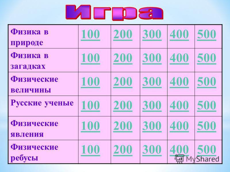 Физика в природе 100200300400500 Физика в загадках 100200300400500 Физические величины 100200300400500 Русские ученые 100200300400500 Физические явления 100200300400500 Физические ребусы 100200300400500