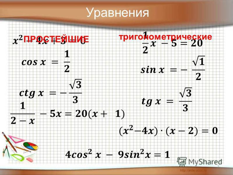 7 Уравнения ПРОСТЕЙШИЕ тригонометрические