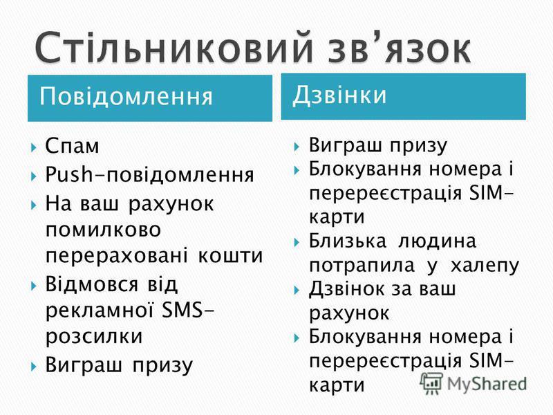 Повідомлення Дзвінки Спам Push-повідомлення На ваш рахунок помилково перераховані кошти Відмовся від рекламної SMS- розсилки Виграш призу Блокування номера і перереєстрація SIM- карти Близька людина потрапила у халепу Дзвінок за ваш рахунок Блокуванн