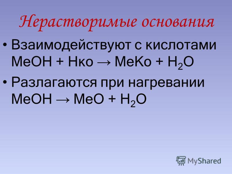 Нерастворимые основания Взаимодействуют с кислотами МеОН + Нко Ме Ко + Н 2 О Разлагаются при нагревании МеОН МеО + Н 2 О