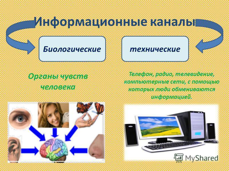 Информационные каналы Биологическиетехнические Органы чувств человека Телефон, радио, телевидение, компьютерные сети, с помощью которых люди обмениваются информацией.