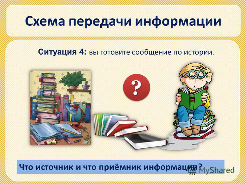 Схема передачи информации Ситуация 4: вы готовите сообщение по истории. ?? Что источник и что приёмник информации?