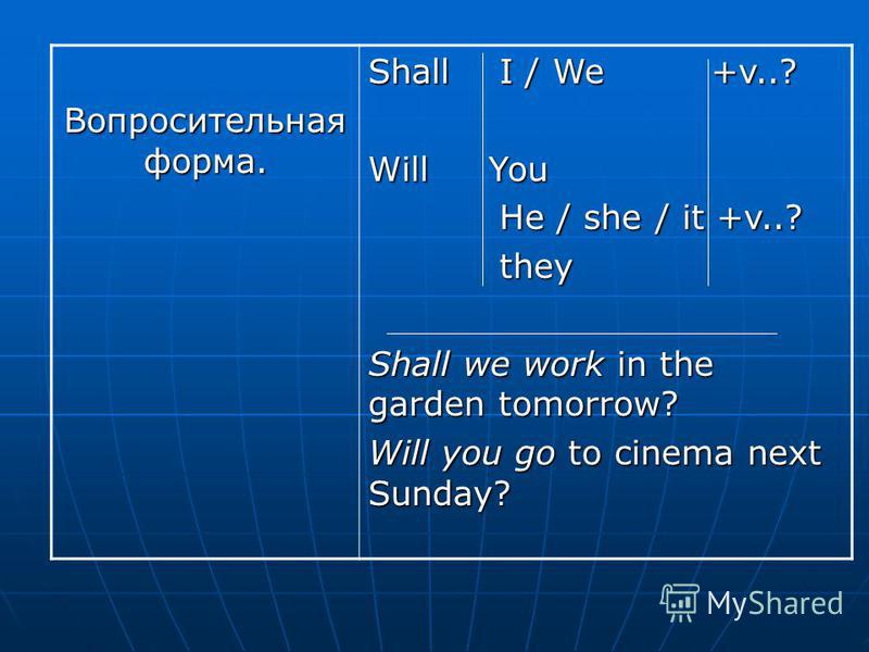 Отрицательная форма. I /We shall not will not + v will not + vYou Ht /She /It will not +v They I will not work next week. My friends will not go to the cinema next week.