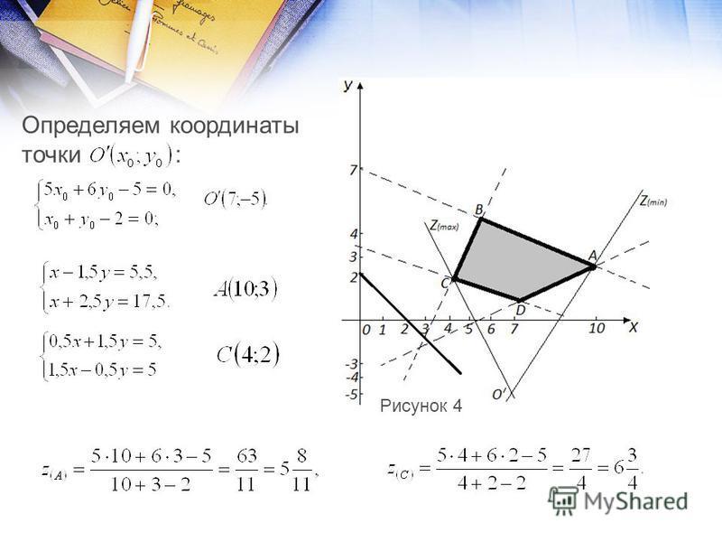 Определяем координаты точки : Рисунок 4