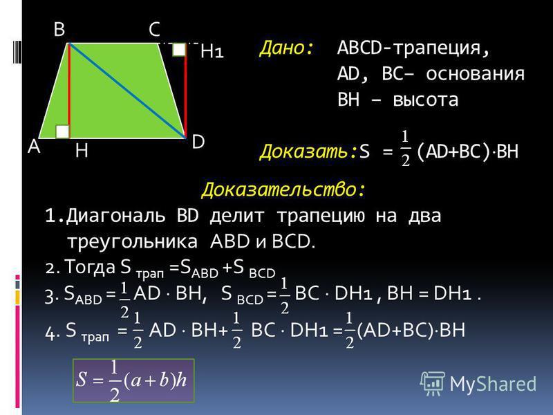 Дано: ABCD-трапеция, АD, BC– основания ВH – высота Доказать:S = (AD+BC)ВH Доказательство: 1. Диагональ BD делит трапецию на два треугольника АВD и BCD. 2. Тогда S трап =S АВD +S BCD 3. S АВD = AD BH, S BCD = BC DH1, BH = DH1. 4. S трап = AD BH+ BC DH