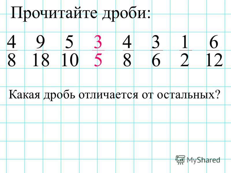 Прочитайте дроби: 4 9 5 3 4 3 1 6 8 18 10 5 8 6 2 12 Какая дробь отличается от остальных?