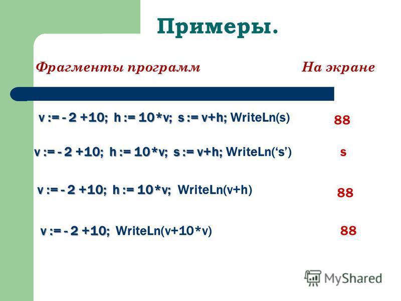 Примеры. Фрагменты программ На экране v := - 2 +10; h := 10*v; s := v+h; v := - 2 +10; h := 10*v; s := v+h; WriteLn(s) s v := - 2 +10; h := 10*v; v := - 2 +10; h := 10*v; WriteLn(v+h) v := - 2 +10; v := - 2 +10; WriteLn(v+10*v) 88