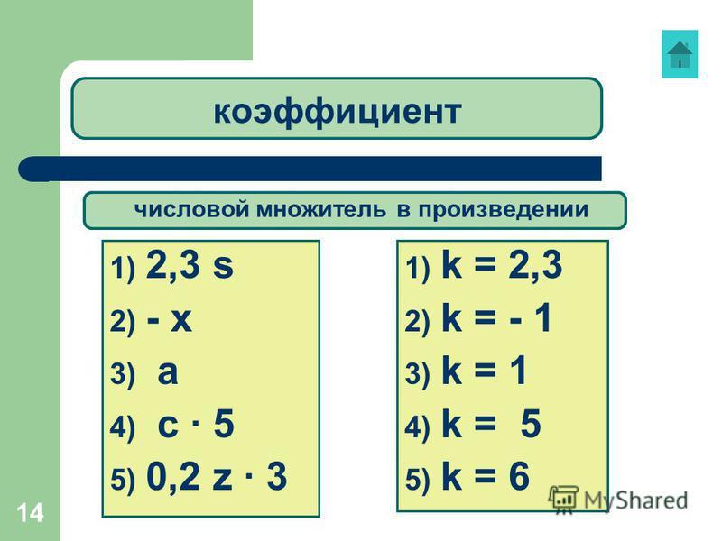 14 коэффициент 1) 2,3 s 2) - х 3) а 4) с 5 5) 0,2 z 3 1) k = 2,3 2) k = - 1 3) k = 1 4) k = 5 5) k = 6 числовой множитель в произведении