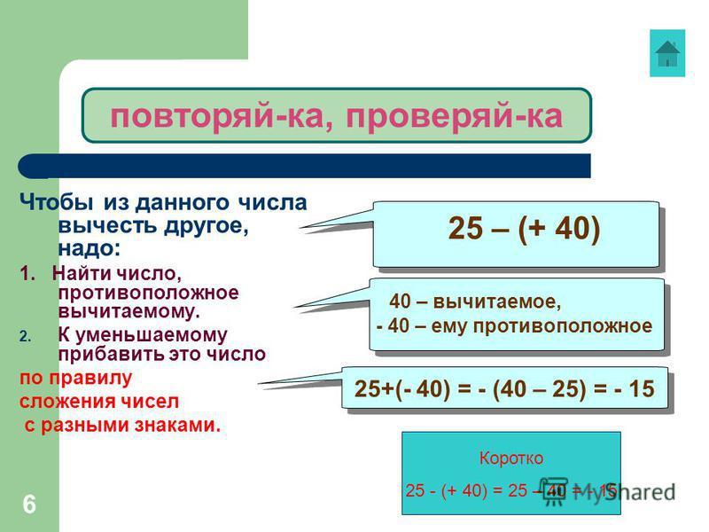 6 Чтобы из данного числа вычесть другое, надо: 1. Найти число, противоположное вычитаемому. 2. К уменьшаемому прибавить это число по правилу сложения чисел с разными знаками. 25 – (+ 40) 40 – вычитаемое, - 40 – ему противоположное 40 – вычитаемое, -