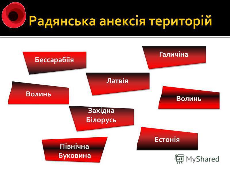Бессарабіїя Галичіна Волинь Естонія Латвія Західна Білорусь Західна Білорусь Північна Буковина