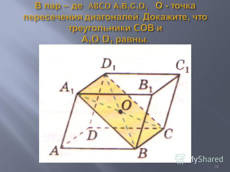 Противоположные грани параллелепипеда параллельны и равны. Диагонали параллелепипеда пересекаются в одной точке и делятся этой точкой пополам. 27