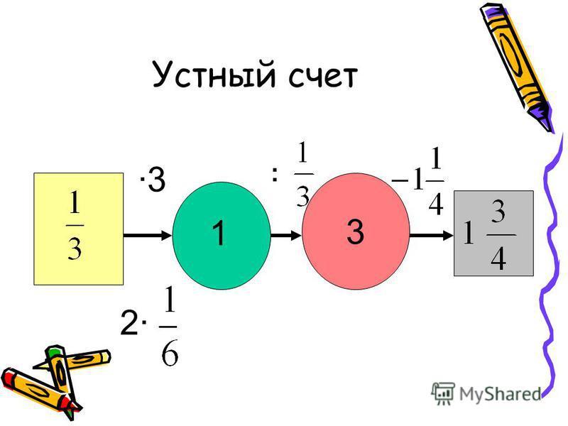 Устный счет 3 ·3·3 1 : 2·2·
