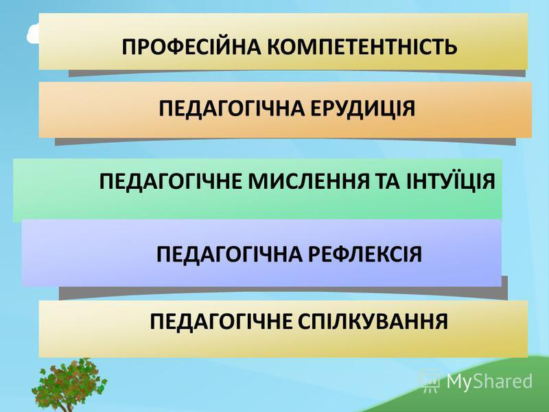 ПЕДАГОГІЧНЕ МИСЛЕННЯ ТА ІНТУЇЦІЯ ПРОФЕСІЙНА КОМПЕТЕНТНІСТЬ ПЕДАГОГІЧНЕ СПІЛКУВАННЯ ПЕДАГОГІЧНА ЕРУДИЦІЯ ПЕДАГОГІЧНА РЕФЛЕКСІЯ