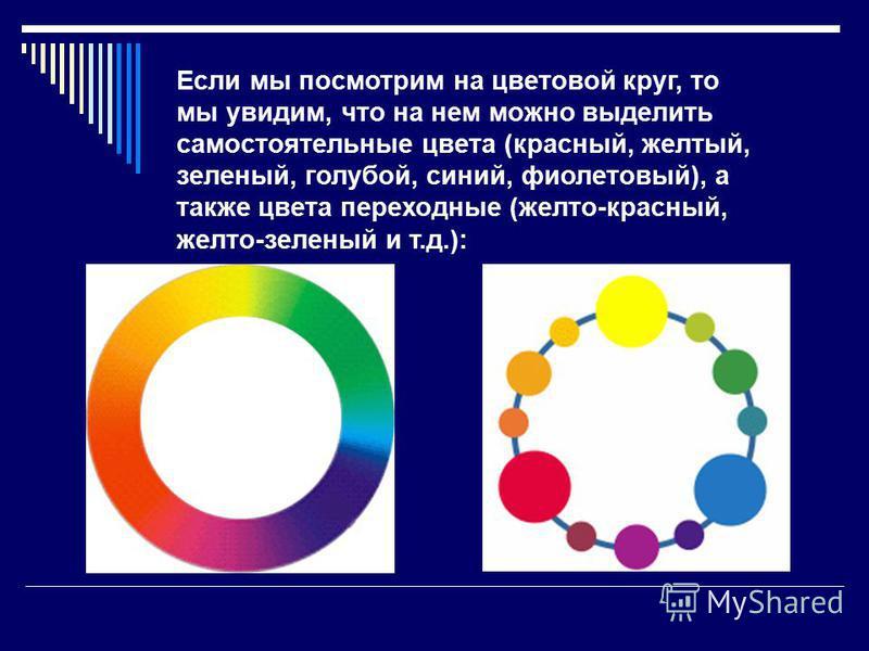 Если мы посмотрим на цветовой круг, то мы увидим, что на нем можно выделить самостоятельные цвета (красный, желтый, зеленый, голубой, синий, фиолетовый), а также цвета переходные (желто-красный, желто-зеленый и т.д.):