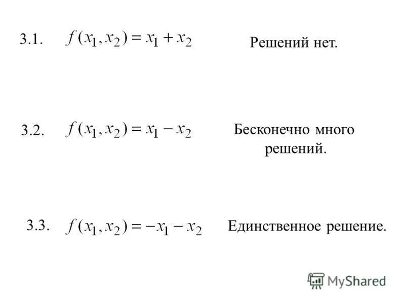 3.1. Решений нет. 3.2. Бесконечно много решений. 3.3. Единственное решение.