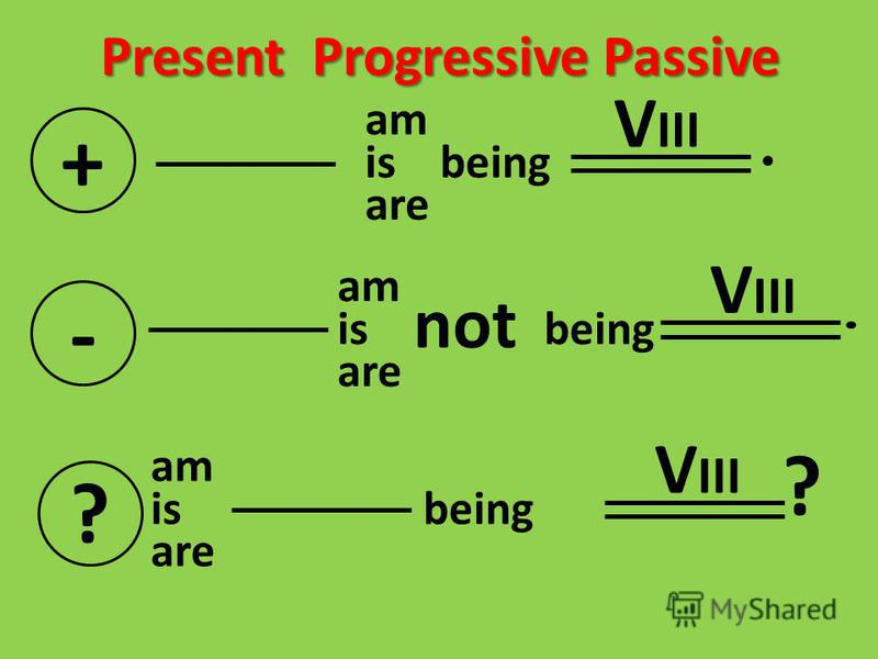 Present Progressive Passive + am is being are - am is being are not V III ? am is being are V III ?