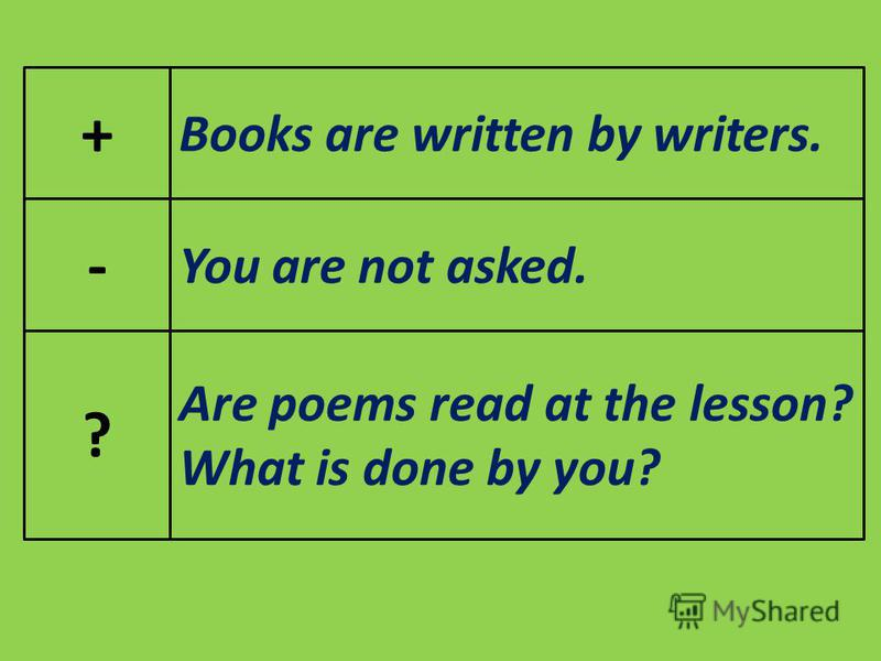 + - ? Books are written by writers. You are not asked. Are poems read at the lesson? What is done by you?