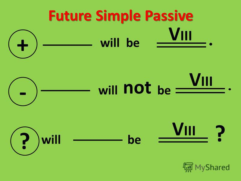 Future Simple Passive + will be - not V III ? will be V III ?