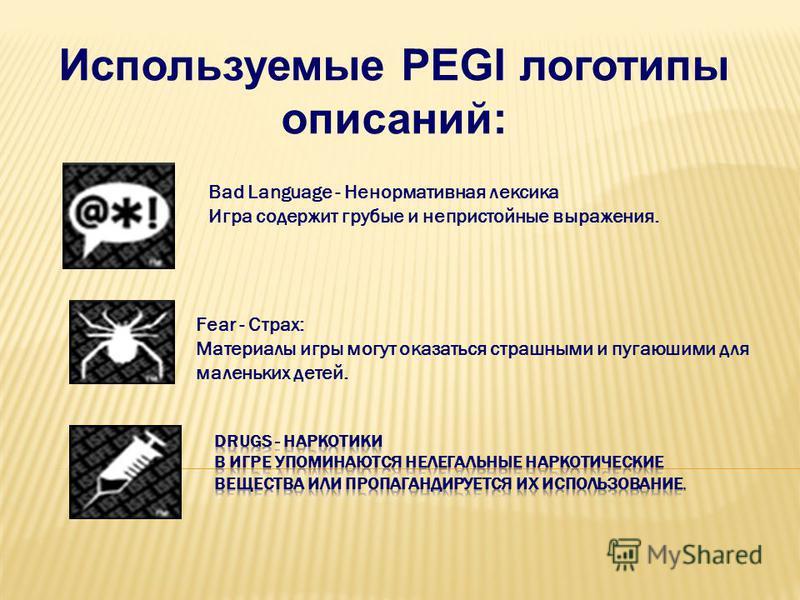 Fear - Страх: Материалы игры могут оказаться страшными и пугающими для маленьких детей. Используемые PEGI логотипы описаний: Bad Language - Ненормативная лексика Игра содержит грубые и непристойные выражения.