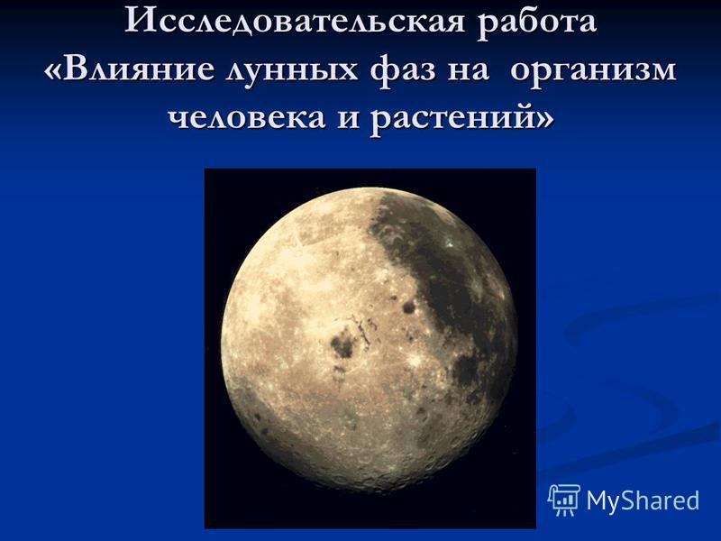 Исследовательская работа «Влияние лунных фаз на организм человека и растений»