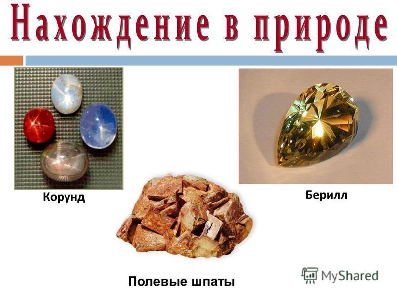 Корунд Берилл Полевые шпаты
