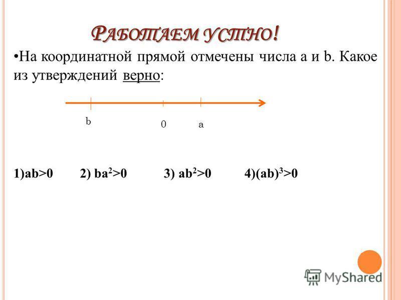 Р АБОТАЕМ УСТНО ! b 0a На координатной прямой отмечены числа a и b. Какое из утверждений верно: 1)ab>0 2) ba 2 >0 3) ab 2 >0 4)(ab) 3 >0