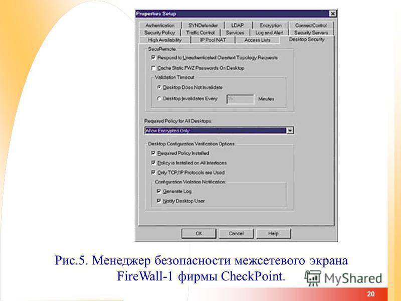 20 Рис.5. Менеджер безопасности межсетевого экрана FireWall-1 фирмы CheckPoint.
