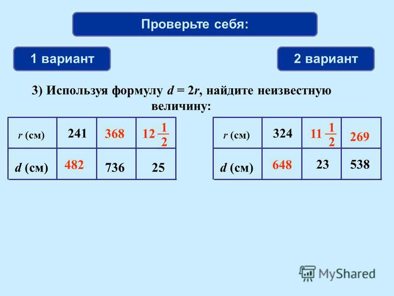 Проверьте себя: 1 вариант 2 вариант r (см) d (см)25 241 736 r (см) d (см) 23 324 538 12 1 2 482648 368 269 11 1 2 3) Используя формулу d = 2r, найдите неизвестную величину: