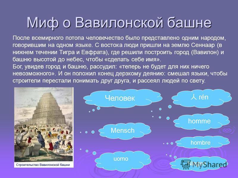 Миф о Вавилонской башне После всемирного потопа человечество было представлено одним народом, говорившим на одном языке. С востока люди пришли на землю Сеннаар (в нижнем течении Тигра и Евфрата), где решили построить город (Вавилон) и башню высотой д
