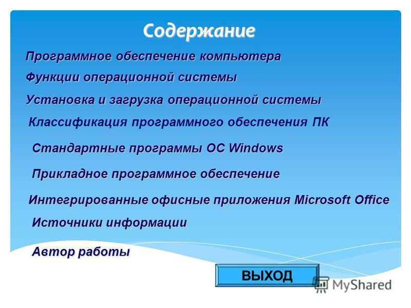 Содержание Программное обеспечение компьютера Программное обеспечение компьютера Функции операционной системы Функции операционной системы Установка и загрузка операционной системы Установка и загрузка операционной системы Классификация программного