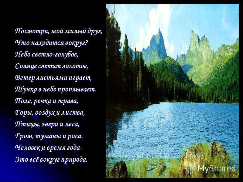 Я обнял глобус – шар земной. Один над сушей и водой. В руках моих материки Мне тихо шепчут: «Береги». В зеленой краске лес и дол. Мне говорят: «Будь с нами добр». Не растопчи ты нас, не жги, Зимой и летом береги». Журчит глубокая река, Свои лаская бе