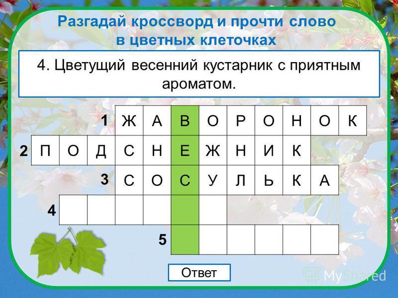 Разгадай кроссворд и прочти слово в цветных клеточках 3. Кусок льда, свисающий с ветки дерева. Ответ ЖАВОРОНОК ПОДСНЕЖНИК 1 2 3 4 5