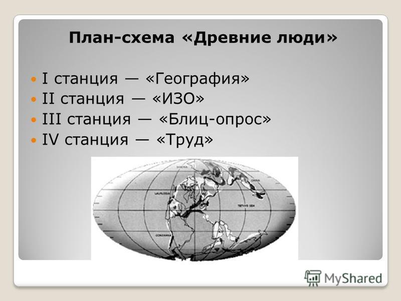 План-схема «Древние люди» I станция «География» II станция «ИЗО» III станция «Блиц-опрос» IV станция «Труд»