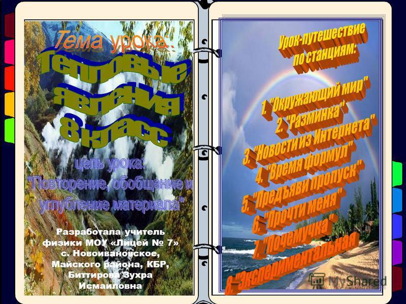 Разработала учитель физики МОУ «Лицей 7» с. Новоивановское, Майского района, КБР, Биттирова Зухра Исмаиловна