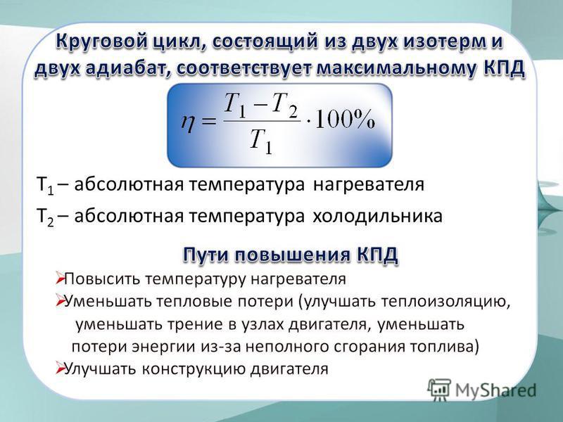 Т 1 – абсолютная температура нагревателя Т 2 – абсолютная температура холодильника