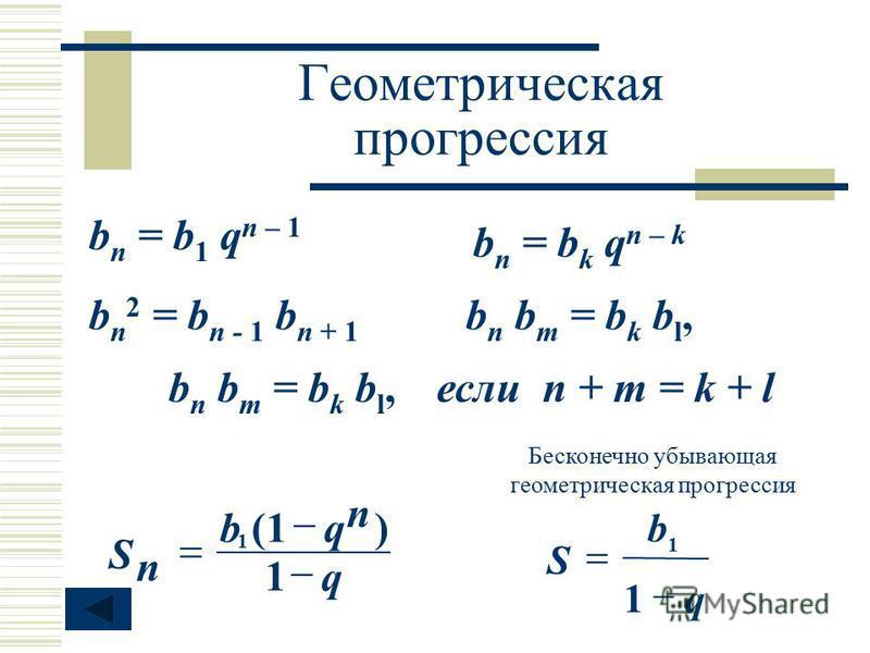 Геометрическая прогрессия b n = b 1 q n – 1 b n = b k q n – k b n 2 = b n - 1 b n + 1 b n b m = b k b l, если n + m = k + lb n b m = b k b l, Бесконечно убывающая геометрическая прогрессия n q qb n S 1 )(1 1 q b S 1 1