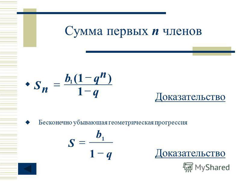 Сумма первых п членов n q qb n S 1 )(1 1 Бесконечно убывающая геометрическая прогрессия q b S 1 1 Доказательство