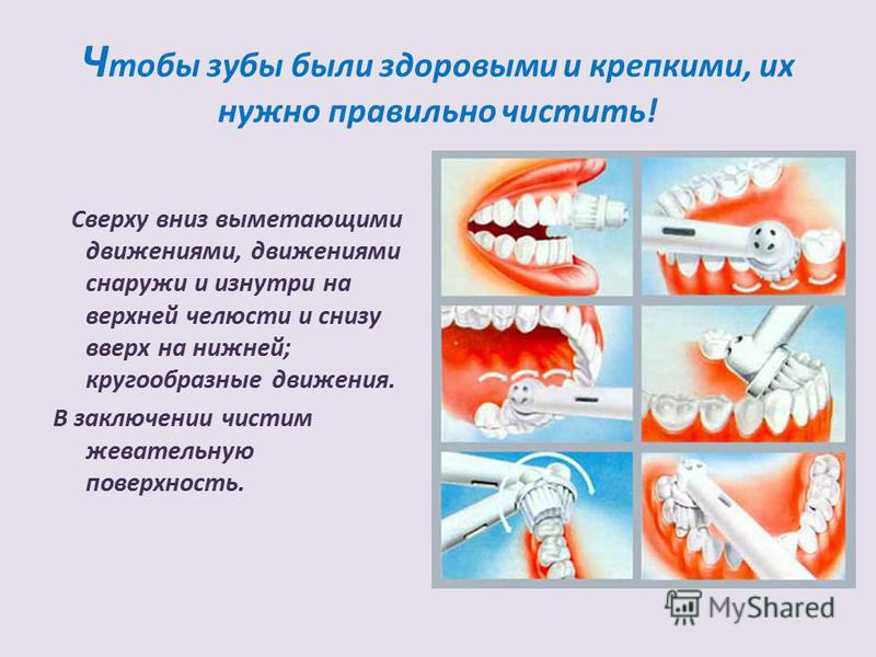 Ч тобы зубы были здоровыми и крепкими, их нужно правильно чистить! Сверху вниз выметающими движениями, движениями снаружи и изнутри на верхней челюсти и снизу вверх на нижней; кругообразные движения. В заключении чистим жевательную поверхность.