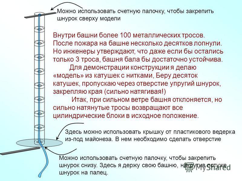Внутри башни более 100 металлических тросов. После пожара на башне несколько десятков лопнули. Но инженеры утверждают, что даже если бы остались только 3 троса, башня бала бы достаточно устойчива. Для демонстрации конструкции я делаю «модель» из кату