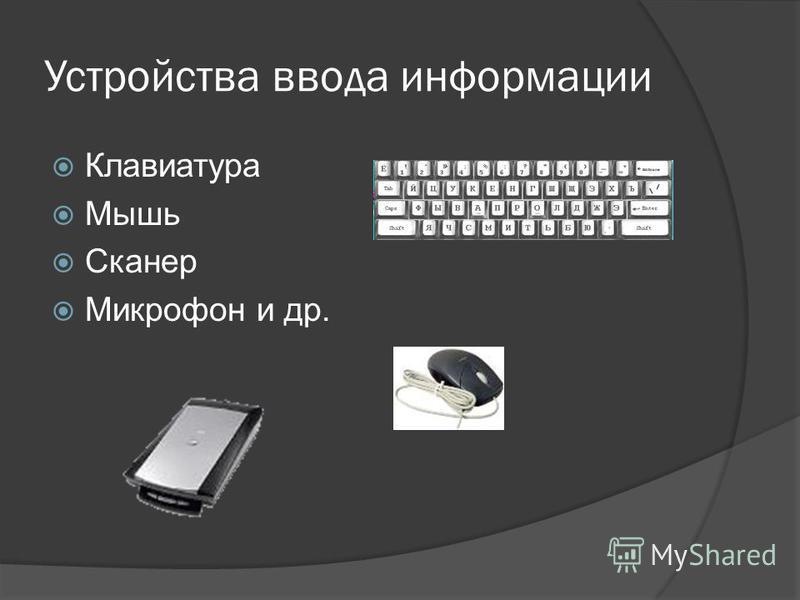 Устройства ввода информации Клавиатура Мышь Сканер Микрофон и др.
