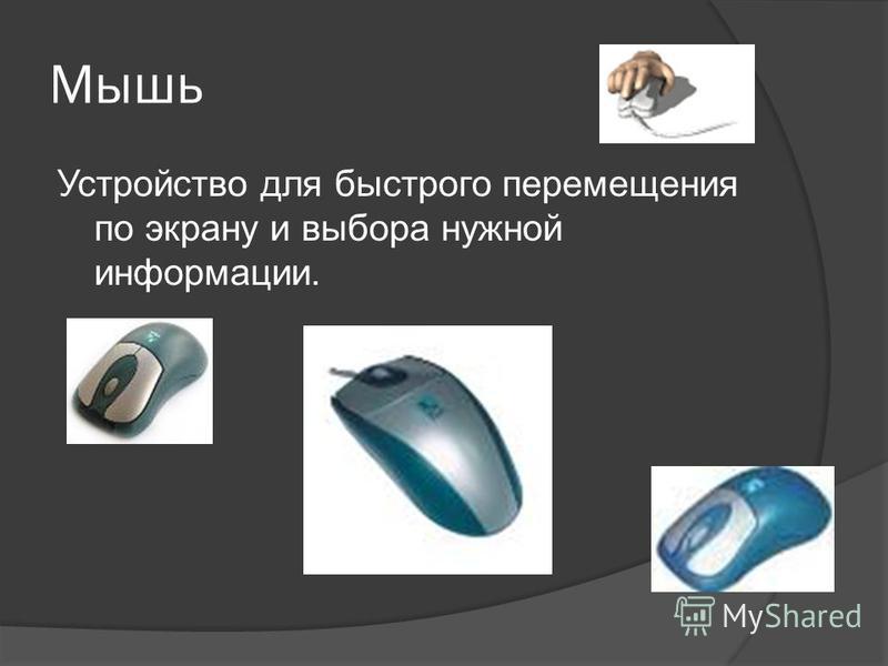 Мышь Устройство для быстрого перемещения по экрану и выбора нужной информации.