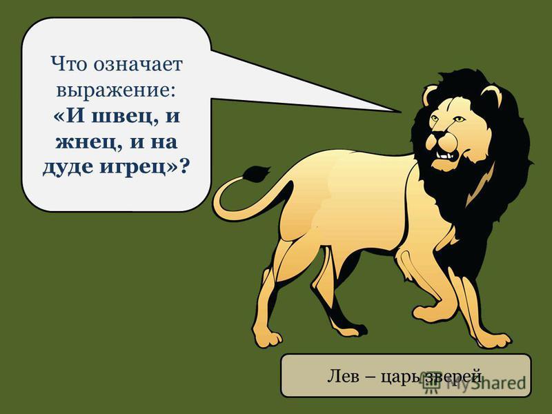 Лев – царь зверей Что означает выражение: «И швец, и жнец, и на дуде игрец»?