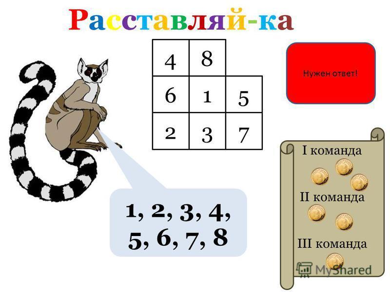 Расставляй-ка Расставляй-ка I команда II команда III команда 1, 2, 3, 4, 5, 6, 7, 8 Нужен ответ! 48 65 72 1 3