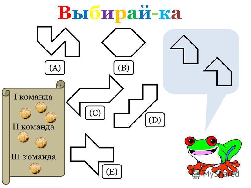 Выбирай-ка Выбирай-ка (А)(В) (С) (D)(D) (E)(E) I команда II команда III команда