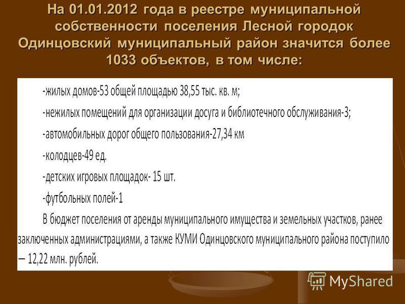 На 01.01.2012 года в реестре муниципальной собственности поселения Лесной городок Одинцовский муниципальный район значится более 1033 объектов, в том числе: