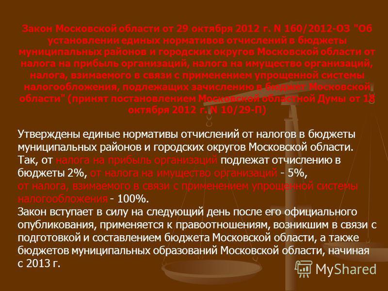 Закон Московской области от 29 октября 2012 г. N 160/2012-ОЗ